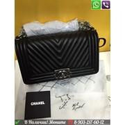 Сумка Chanel Boy Chevron Черные Шанель Бой Диагональ Шеврон фото