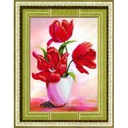 """Набор для рисования камнями """"Красные тюльпаны-2"""" 80231 фото"""