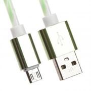 USB кабель «LP» Micro USB витая пара с металлическими разъемами 1 м. (белый с зеленым/европакет) фото