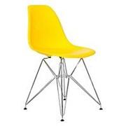 Стул EAMES DSR желтый, хромированные ножки. фото