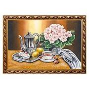 "Натюрморт ""Букет цветов с чайником"" багет 46х66 см фото"