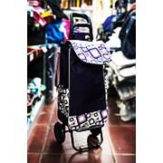 Универсальная сумка-тележка на двух колесах 32х30х100см синяя с цветными квадратами фото