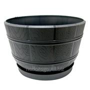"""Горшок пластиковый """"Флора"""" с подставкой антрацитовый 3,2л 1042-014 фото"""