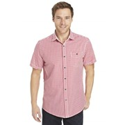 Рубашки мужские,Рубашка с коротким рукавом Gingham Red фото