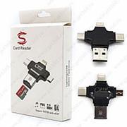 Mobile Flash Driver Card Reader 3 in 1 Lightning Type-C Micro Usb Black (Черный) фото