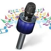 Беспроводной караоке микрофон D03 с колонкой и LED подсветкой (Серебро) фото