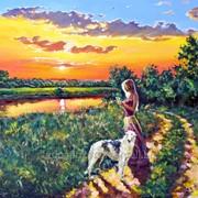 Картина маслом на холсте, закат над рекою, пейзаж фото