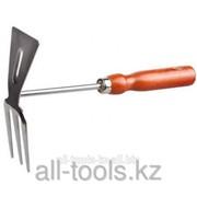 Мотыжка Grinda прямое лезвие, из нержавеющей стали с деревянной ручкой, 3 зубца, 250 мм Код: 8-421135_z01 фото