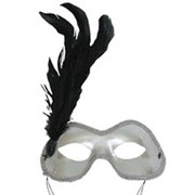 Маска Карнавал серебряная с перьями фото