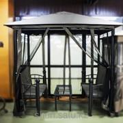 Комплект уличный две скамейки и столик в шатре фото
