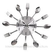 Настенные часы ЛОЖКИ-ВИЛКИ, диаметр 31, металл фото