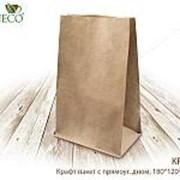 Крафт пакет с пр. дн., 180*120*290 мм,1000шт(бумага, плотность бумаги:50 г/м) - бумажные крафт пакеты фото