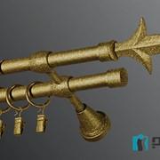 Металлический карниз Plastidea Эконом Лилия золотой графит двойной фото