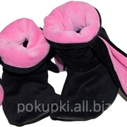 Тапочки Зайчики черные с розовыми ушами фото
