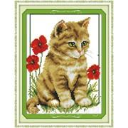 Набор вышивки крестом Котик в цветах kidD304 фото