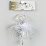 Декор Балерина с пером прозр.с блеском h 13см фото