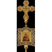 Крест-икона № 8 запрестольная выпиловка гравировка живопись золочение камни фото