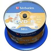 Оптический диск DVD-R 4.7 Гб Verbatim 16-ск. с поверхностью для струйной печати в тубе 50шт. фото