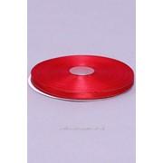 Лента атлас 6 мм с золотом, красный (рул 33 м) фото