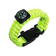 Браслет для выживания из рпаракорда с компасом Paracord bracelet with compass,buckle with whistle, lime фото