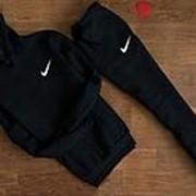 Костюм спортивный мужской Nike, черный с капюшоном (маленький логотип) фото