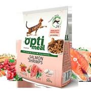 Сухой корм для взрослых котов - с лососем и креветками Optimeal 0,3 кг фото