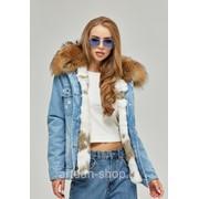 Парка женская зимняя джинсовая с натуральным мехом П-56 фото