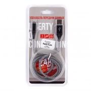 USB кабель «LP» для Apple Lightning 8-pin «Носки» (черный/блистер) фото