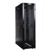 Шкаф серверный ПРОФ напольный 42U (600x1200) дверь перфор., задние двойные перфор., черный, в сборе фото