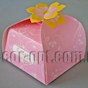 Бонбоньерка с цветком розовая 6,5х6,5х6,5см 570792 фото