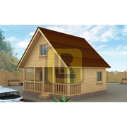 Каркасно-щитовой дом Проект №5 6х6 с террасой фото