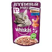 Whiskas 85г пауч Аппетитный микс Влажный корм для взрослых кошек Креветки и лосось (сливочный соус) фото