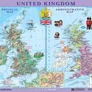 United Kingdom. Фізична карта. Політико-адміністративна карта, м-б 1:1 500 000 (на планках) фото
