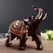 """Сувенир полистоун """"Чёрный слон с попоной с бахромой"""" 20,5х17х8,5 см фото"""