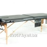 Складной 2-х секционный деревянный массажный стол BodyFit, черный фото