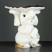 """Фигура - подставка """"Слон с листком"""" перламутр-золото 30х30х30см фото"""