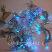 """Гирлянда """"Световой занавес"""",160 светодиодный,цвет голубой,1,5*1,5,прозрачный провод. фото"""