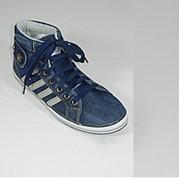 Кеды джинсовые мужские на шнурках высокие синие фото