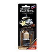Освежитель воздуха HMF-13 MAXI FRESH (кофе и ваниль) жидкостный подвесной, деревянная крышка 5мл /1/64 фото