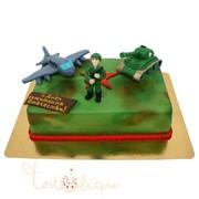 Праздничный торт солдат и техника на 23 февраля №739 фото