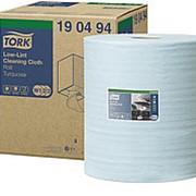 Полотенца протирочные Tork Premium W1/2/3, 1-слойные нетканый материал безворсовый, 500л, голубые 190494 фото