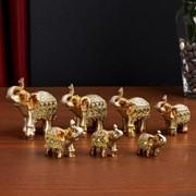 """Сувенир полистоун зеркальные вставки (набор 7 шт) """"Стадо слонов"""" 11, 10, 8,5, 8, 7, 6,3;5,3см 193533 фото"""