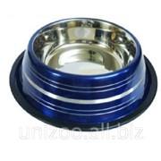 Миска для собак цветная ст. н/ж c серебр. полосами 25,5 см. 900 мл. фото