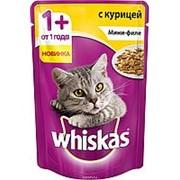 Whiskas 85г пауч Влажный корм для взрослых кошек от 1 года Курица (мини-филе) фото