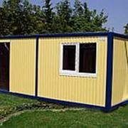 Бытовка С 100/6 вагонка с тамбуром, сейф дверь, голубая, с мебелью фото