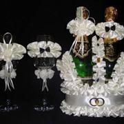 Украшение для шампанского свадебная Корзинка Корона фото