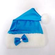 Новогодняя шапка санты голубая для Девочки фото