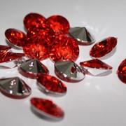 Стразы конусные, пришивные d16mm (красный) фото