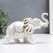 """Сувенир керамика """"Белый слон с попоной с кисточками"""" с золотом 17 см фото"""