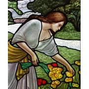 """Фрагмент росписи """"Девушка собирающая цветы"""" фото"""